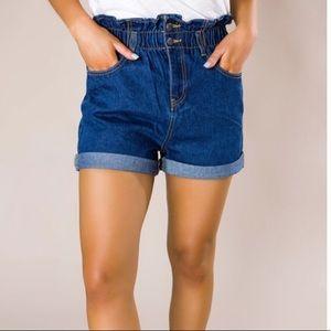 Dark Cinched Waist Denim Shorts